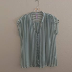 Alya Sheer Striped Blouse with Covered Buttons